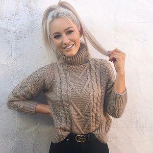 Sweaters - Chunky Knit Turtleneck Sweater